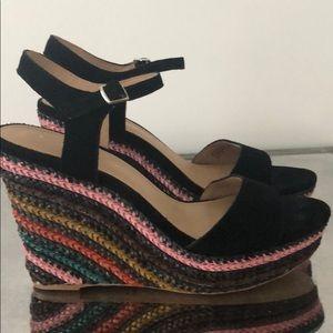 Anthropologie Suede Wedge Sandals